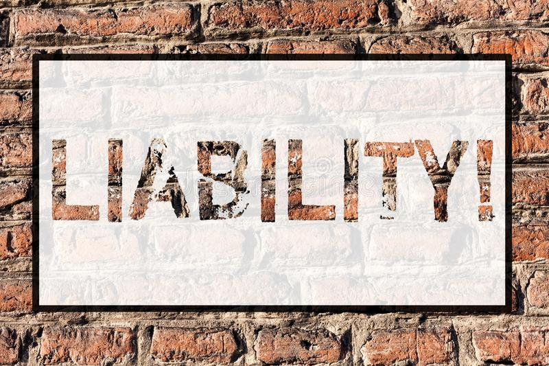 Słowa writing teksta odpowiedzialność Biznesowy pojęcie dla stanu być legalnie odpowiedzialny dla coś odpowiedzialności cegła ilustracji