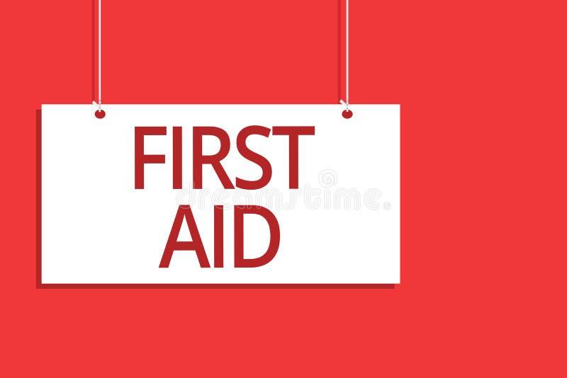 Słowa writing teksta pierwsza pomoc Biznesowy pojęcie dla Ćwiczyć uzdrawiać małych cięcia że żadny potrzeba dla medycznej stażowe zdjęcie royalty free