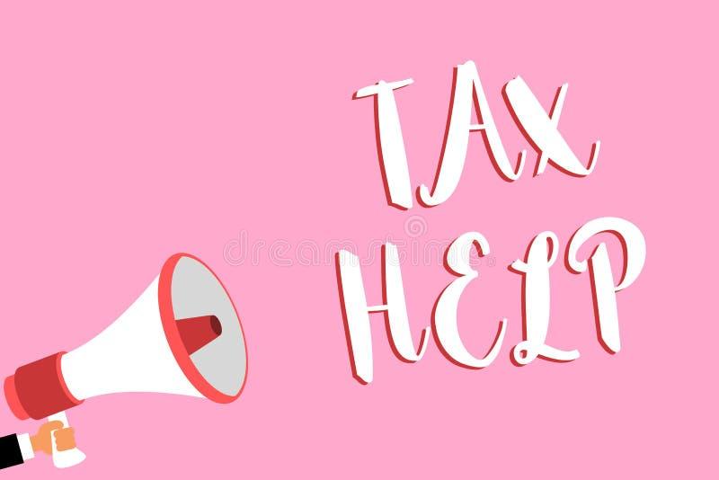 Słowa writing teksta podatku pomoc Biznesowy pojęcie dla pomocy od obowiązkowego wkładu stanu megafonu celny loudsp obraz stock