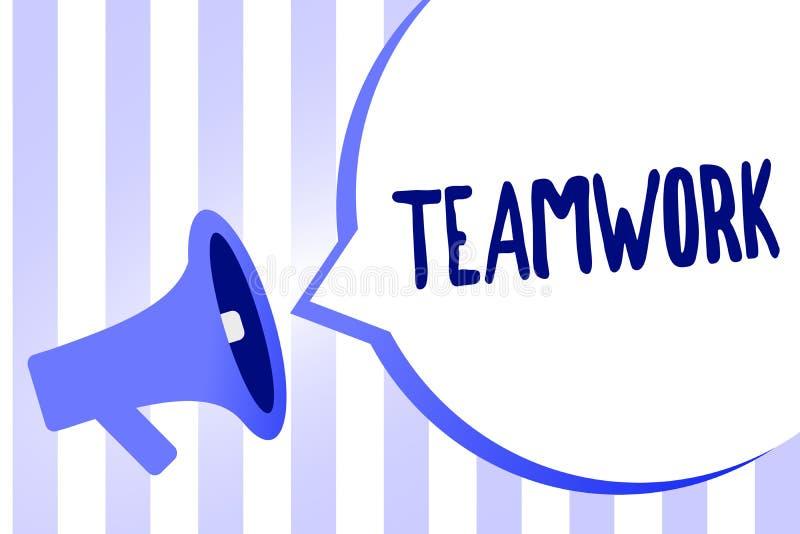 Słowa writing teksta praca zespołowa Biznesowy pojęcie dla grupy ludzi który pracuje wpólnie jako jeden i z ten sam celu megafonu ilustracji
