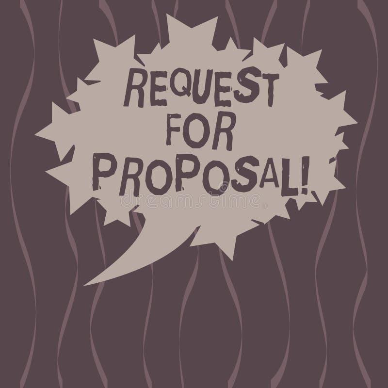 Słowa writing teksta prośba Dla propozyci Biznesowy pojęcie dla dokumentu który zabiegać o coś propozycję zrobił przez licytować ilustracja wektor