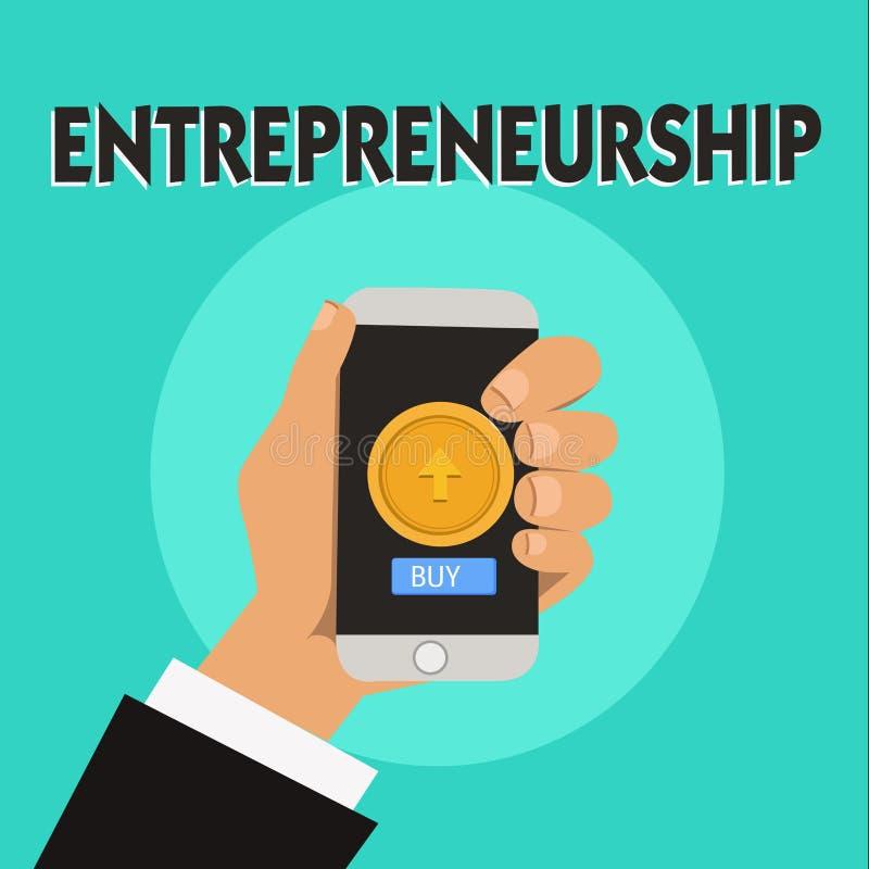 Słowa writing teksta przedsiębiorczość Biznesowy pojęcie dla procesu wszczyna nowego biznes i biega projektować royalty ilustracja