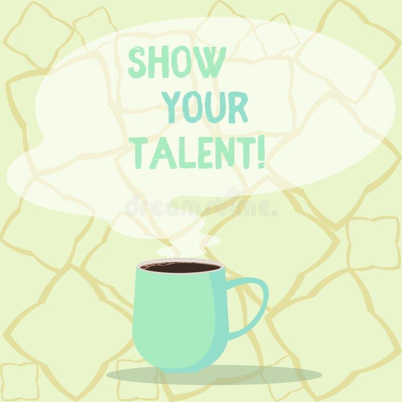 Słowa writing teksta przedstawienie Twój talent Biznesowy pojęcie dla zaproszenia pokazywać someone co jest wykwalifikowany lub d royalty ilustracja