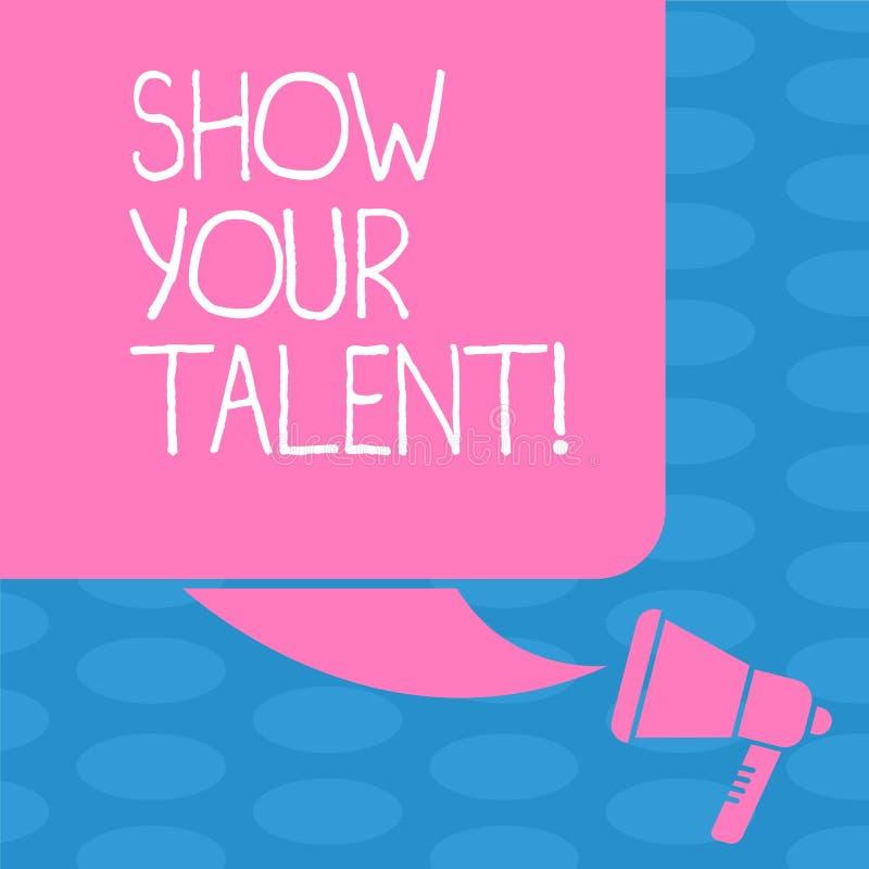 Słowa writing teksta przedstawienie Twój talent Biznesowy pojęcie dla zaproszenia pokazywać someone co jest wykwalifikowany lub d ilustracji