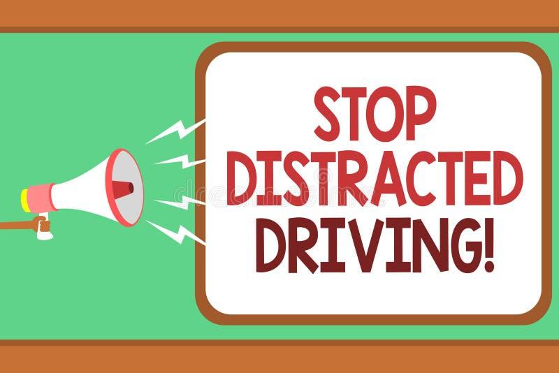 Słowa writing teksta przerwa Rozpraszający uwagę jeżdżenie Biznesowy pojęcie dla pytać być ostrożny za koło przejażdżki mężczyzna ilustracja wektor
