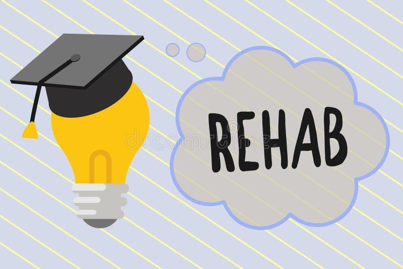 Słowa writing teksta Rehab Biznesowy pojęcie dla kursowego traktowania dla leka alkoholu zależności typowo przy mieszkaniowym ilustracja wektor