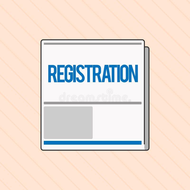 Słowa writing teksta rejestracja Biznesowy pojęcie dla akci lub proces registratura lub rejestrujemy Prenumerujemy royalty ilustracja