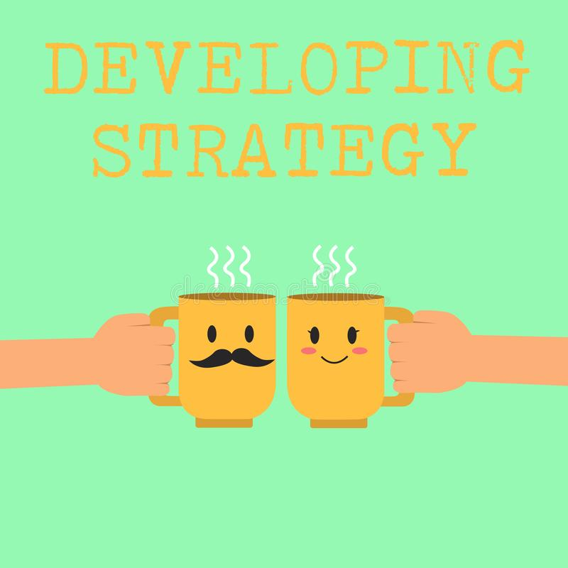 Słowa writing teksta Rozwija strategia Biznesowy pojęcie dla organizacja procesu Zmienia dosięgać cele ilustracja wektor