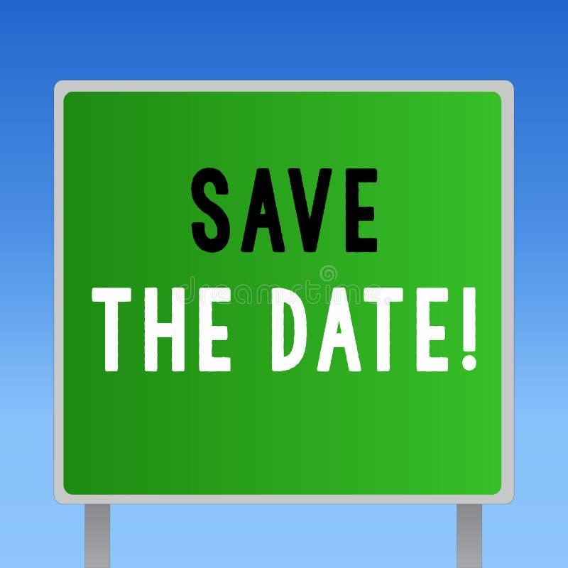 Słowa writing teksta Save data Biznesowy pojęcie dla Pamiętać rozkład Mark kalendarzowy zaproszenie ilustracji