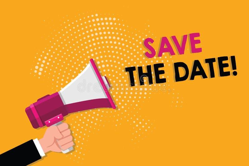 Słowa writing teksta Save data Biznesowy pojęcie dla Pamiętać rozkład Mark kalendarzowy zaproszenie royalty ilustracja