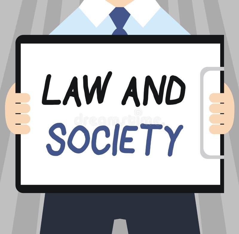 Słowa writing teksta społeczeństwo I prawo Biznesowy pojęcie dla adresu wspólny związek między prawem i społeczeństwem ilustracja wektor