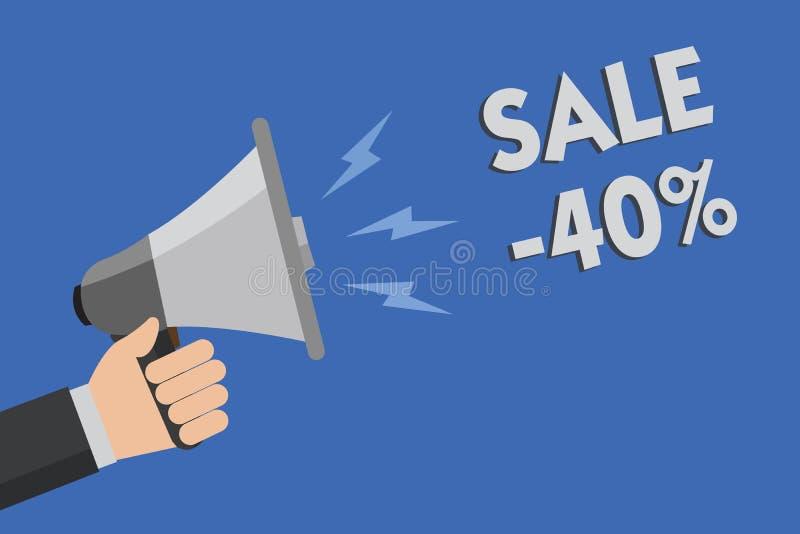 Słowa writing teksta sprzedaż 40 Biznesowy pojęcie dla A promo ceny rzecz przy 40 procentów markdown mężczyzna mienia megafonu gł obraz stock