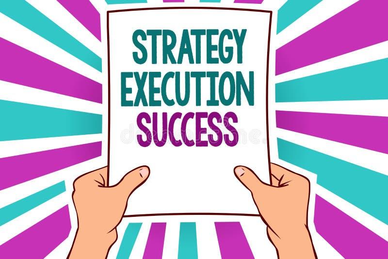 Słowa writing teksta strategii egzekuci sukces Biznesowy pojęcie dla stawiać, początek robi mu i well mężczyzna mienia papier ilustracja wektor