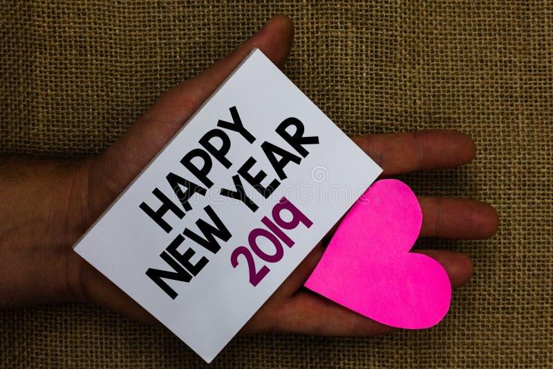 Słowa writing teksta Szczęśliwy nowy rok 2019 Biznesowy pojęcie dla powitanie odświętności nowego początku Wakacyjnych najlepszyc fotografia stock