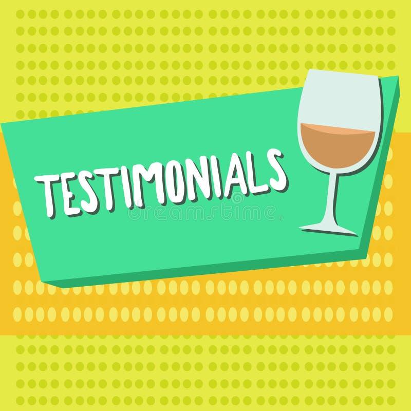 Słowa writing teksta Testimonials Biznesowy pojęcie dla Formalnego oświadczenia zeznaje someone kwalifikacje ilustracji