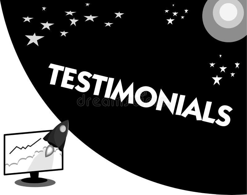 Słowa writing teksta Testimonials Biznesowy pojęcie dla Formalnego oświadczenia zeznaje someone kwalifikacje ilustracja wektor