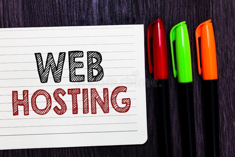 Słowa writing teksta web hosting Biznesowy pojęcie dla aktywności providing składową przestrzeń dla strona internetowa notatnika  zdjęcia royalty free