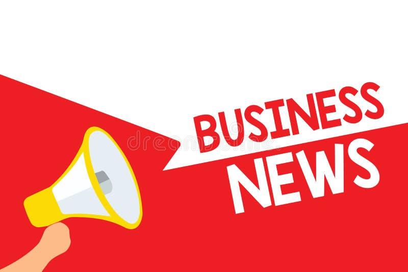 Słowa writing teksta wiadomości gospodarcze Biznesowy pojęcie dla Handlowej zawiadomienie handlu raportu rynku aktualizaci wglądu ilustracja wektor
