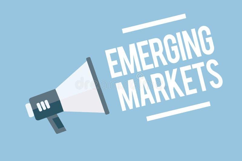 Słowa writing teksta wschodzący rynek Biznesowy pojęcie dla kraju który niektóre właściwości rozwija przechuje ilustracji