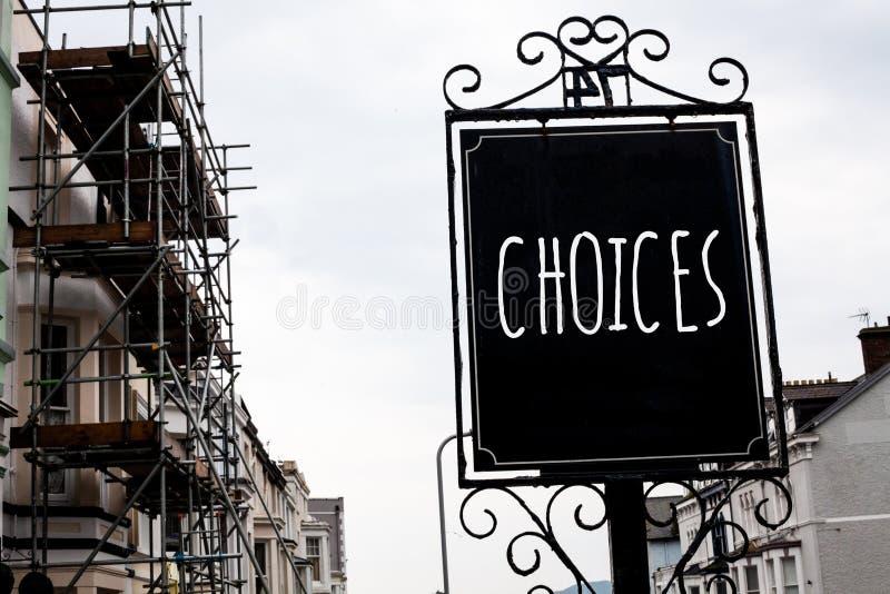 Słowa writing teksta wybory Biznesowy pojęcie dla Preferansowej dyskreci chęci Odróżnia opcja wyboru rocznika czerni knura zdjęcia stock