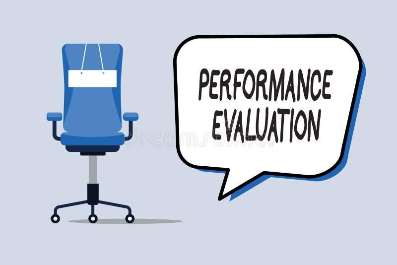 Słowa writing teksta występu cenienie Biznesowy pojęcie dla Oceniałem pracownika występu kombinezonu wkładu ilustracja wektor