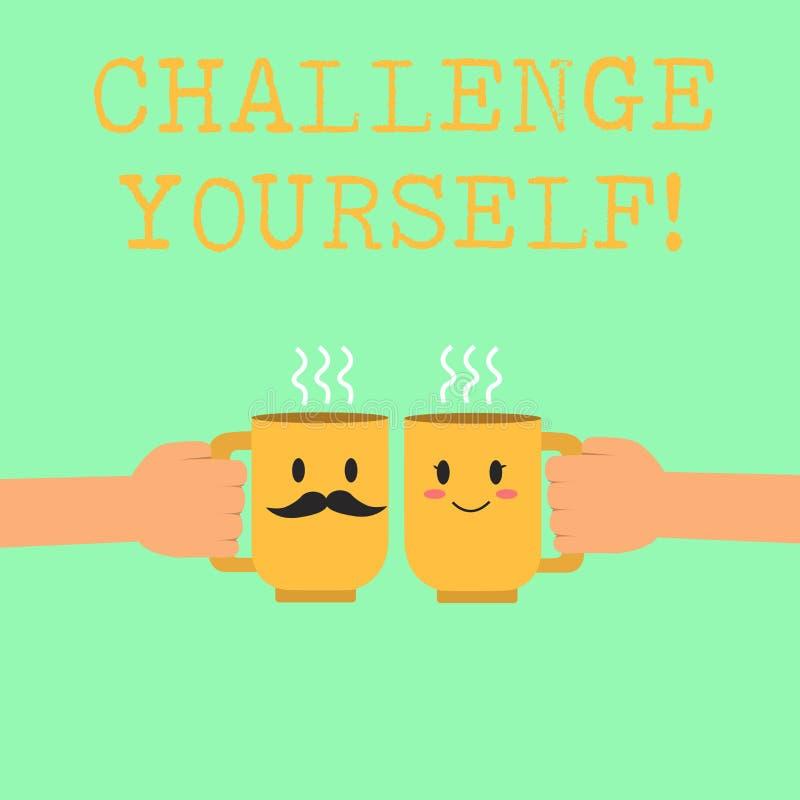 Słowa writing teksta wyzwanie Yourself Biznesowy pojęcie dla Ustawiać Wysokich standardy Celuje dla Niemożliwego ilustracji