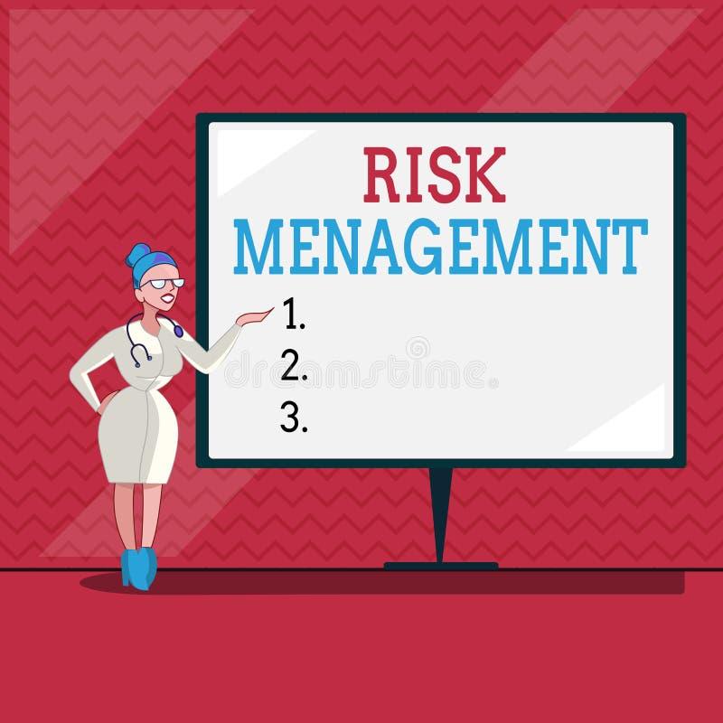 Słowa writing teksta zarządzanie ryzykiem Biznesowy pojęcie dla cenienia pieniężni zagrożenia lub problemy z procedurami ilustracja wektor
