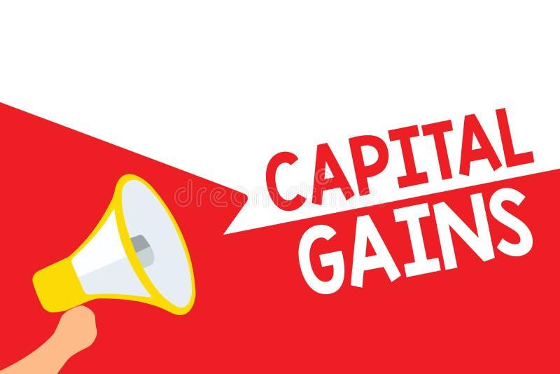 Słowa writing teksta zyski kapitałowi Biznesowy pojęcie dla więzi części zapasów Zyskuje podatków dochodowych funduszy inwestycyj ilustracji