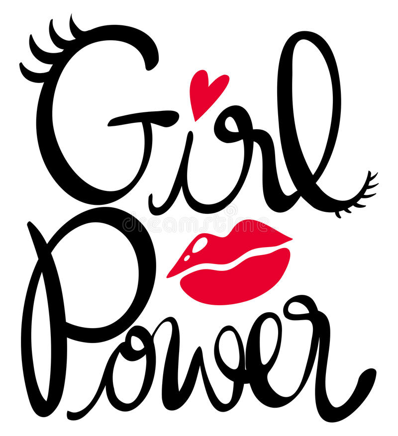 Słowa wyrażenie dla dziewczyny władzy ilustracja wektor