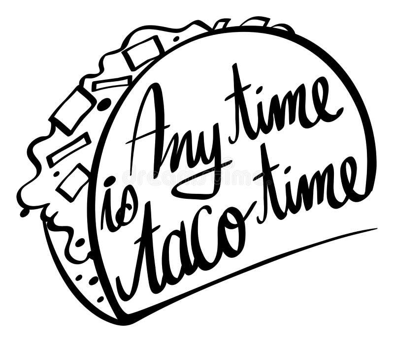 Słowa wyrażenie dla jakaś czasu jest taco czasem royalty ilustracja