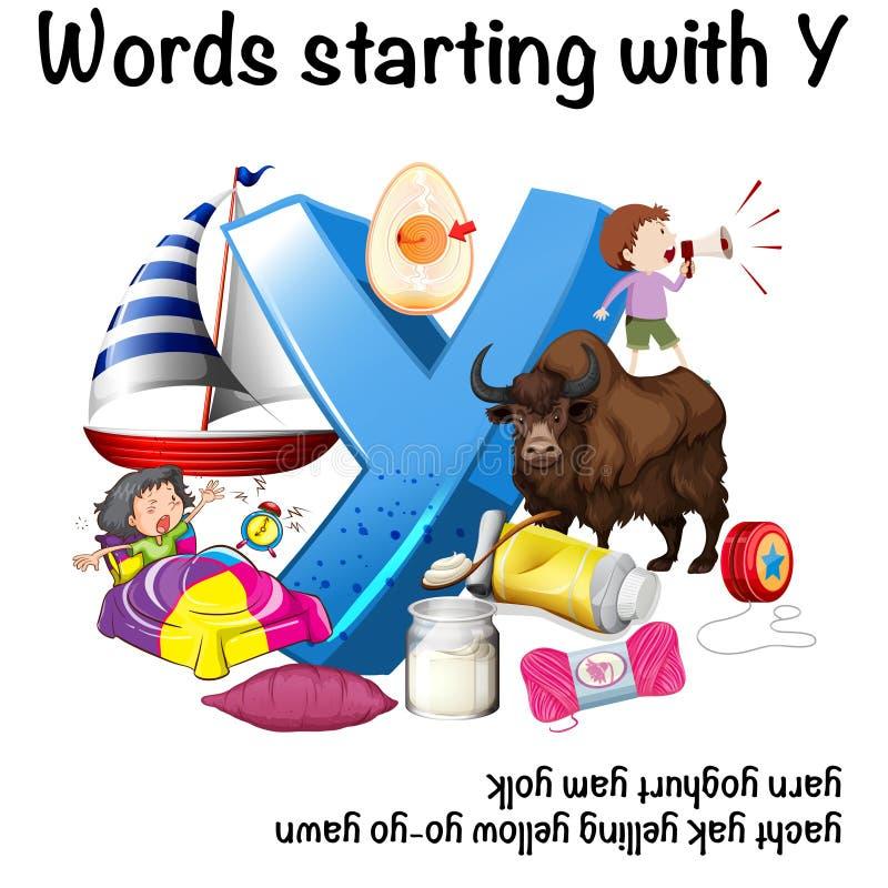 Słowa zaczyna z Y na białym tle ilustracja wektor