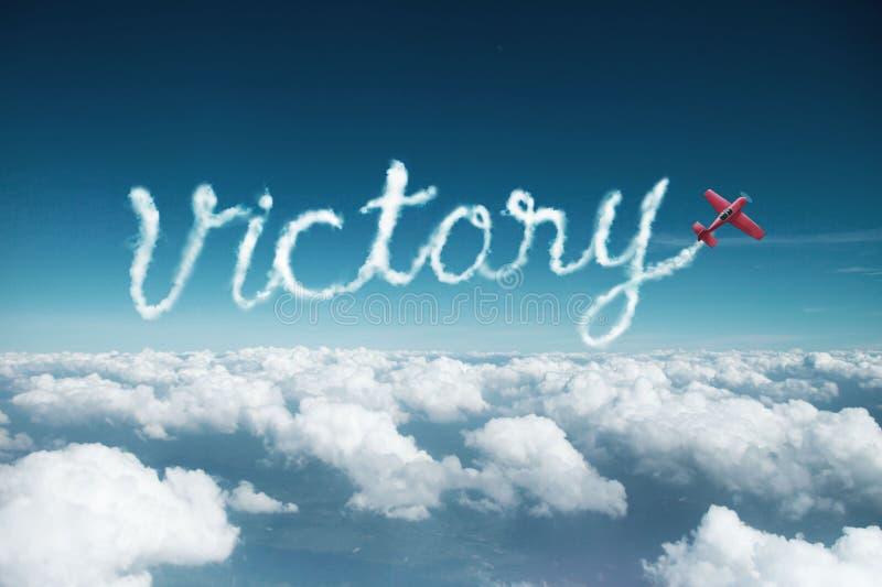 Słowa zwycięstwo robić samolotem zdjęcia stock