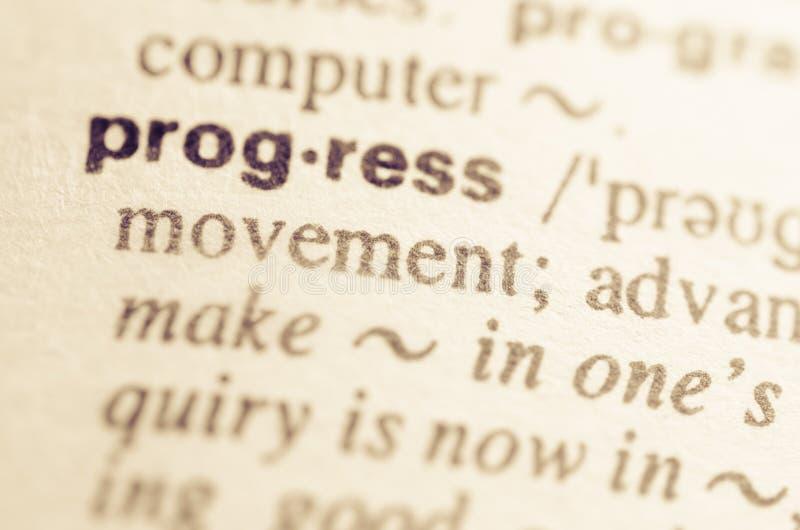 Słownik definicja słowo postęp zdjęcie stock