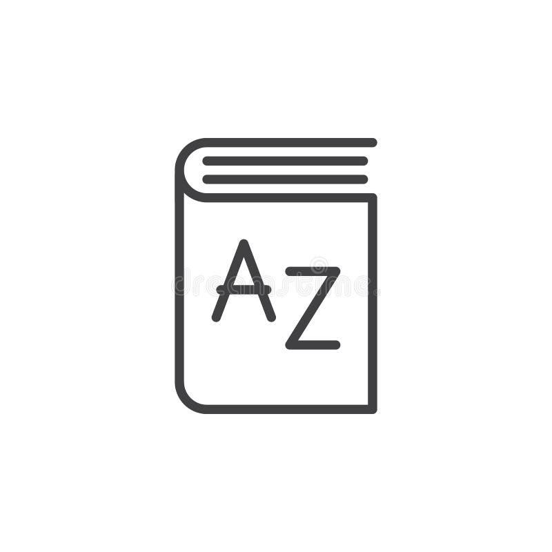 Słownik kreskowa ikona, konturu wektoru znak royalty ilustracja