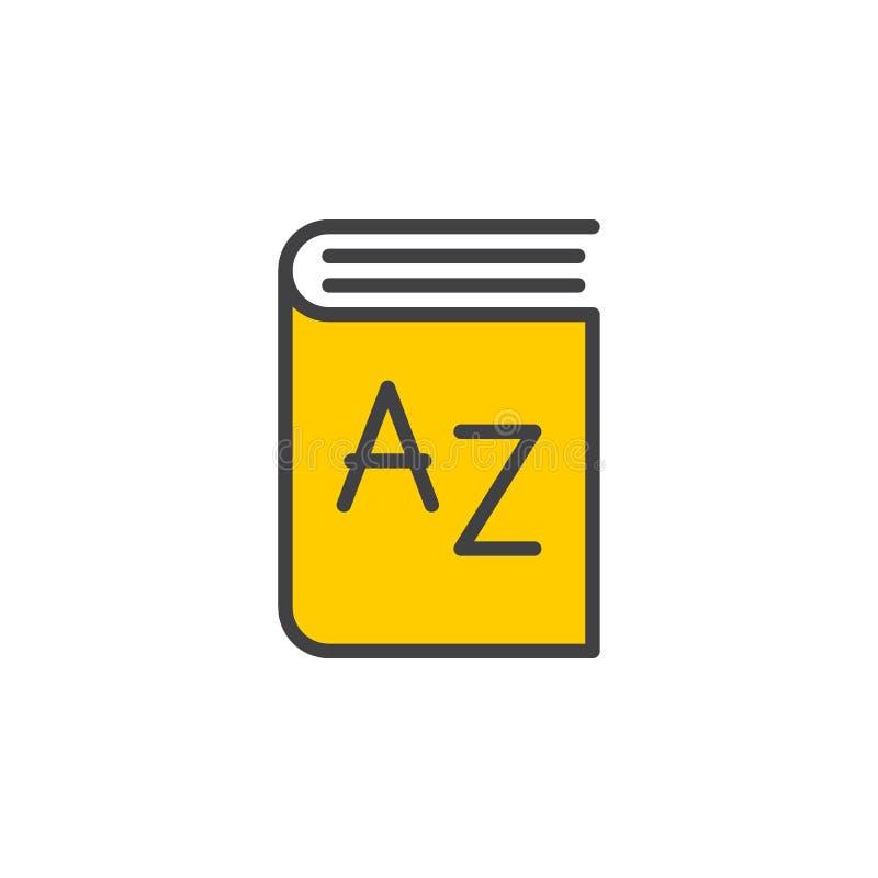 Słownik kreskowa ikona, wypełniający konturu wektoru znak, liniowy kolorowy piktogram odizolowywający na bielu ilustracja wektor