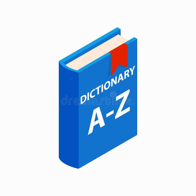 Słownik książkowa ikona, isometric 3d styl royalty ilustracja