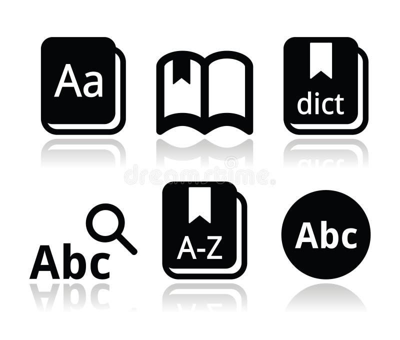 Słownik książkowe ikony ustawiać royalty ilustracja