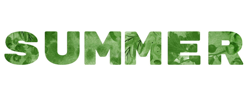 Słowo «lato « Zielona inskrypcja na białym tle zdjęcie stock