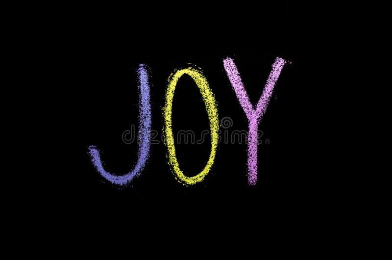 Słowo «radość «drawned na chalkboard zdjęcie stock