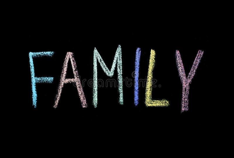 Słowo «rodzina «drawned na chalkboard obrazy royalty free