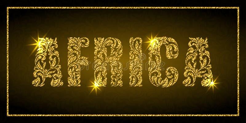 Słowo Afryka Dekoracyjna chrzcielnica z zawijasami i kwiecistymi elementami Złoci listy z iskrami royalty ilustracja