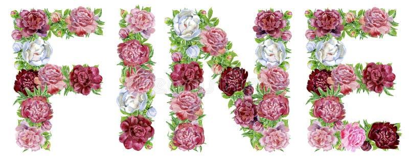 Słowo akwareli peonie ŚWIETNIE kwitnie i motyle ilustracji
