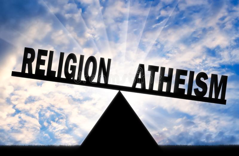 Słowo ateizm jest potężny niż słowo religia na skalach ilustracji