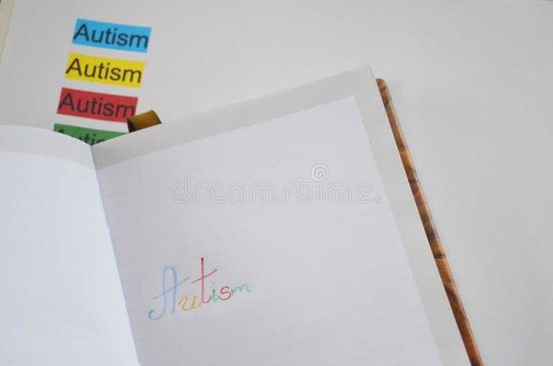 Słowo autyzm, zamyka up fotografia stock