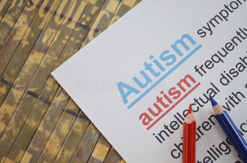 Słowo autyzm, zamyka up zdjęcie royalty free