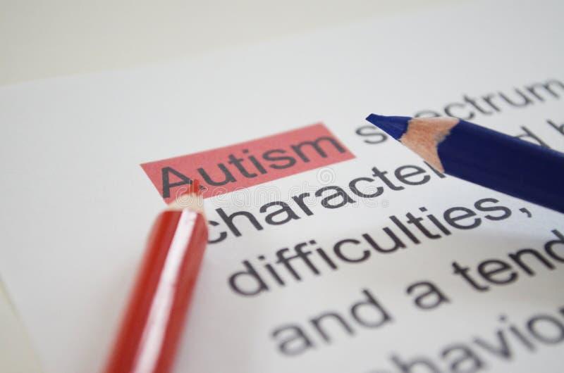 Słowo autyzm, zamyka up zdjęcia royalty free