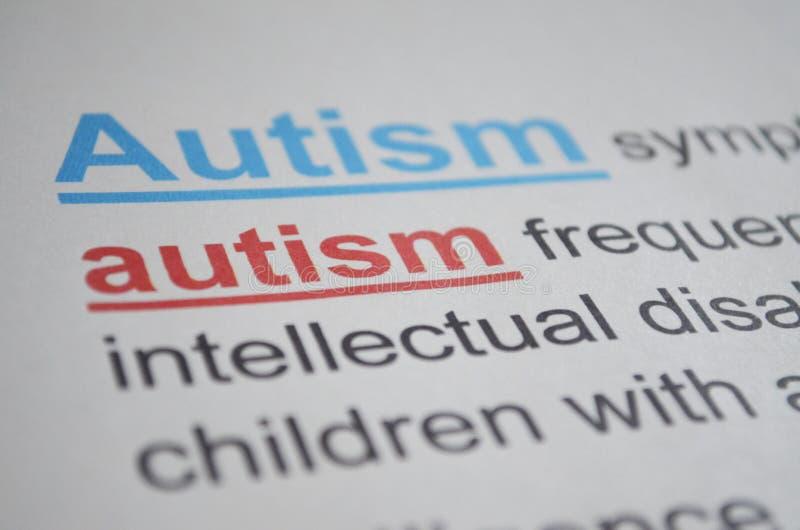 Słowo autyzm, zamyka up obraz royalty free