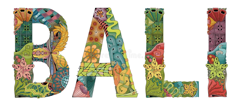 Słowo BALI Wektorowy dekoracyjny zentangle przedmiot dla dekoraci ilustracja wektor