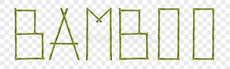 Słowo bambus robić realistyczna zieleń wtyka słupy na przejrzystym tle ilustracji