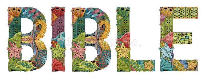 Słowo biblia Wektorowy dekoracyjny zentangle przedmiot ilustracja wektor